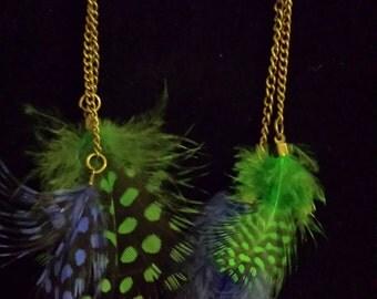 Blue & Green Feather Earrings