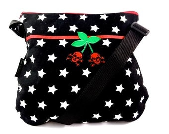 Shoulder bag of rockabilly star with cherry