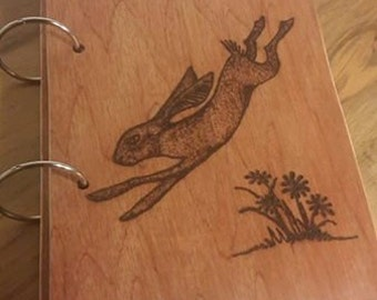 Two Ring Wood Binder - Decorated with Pyrography