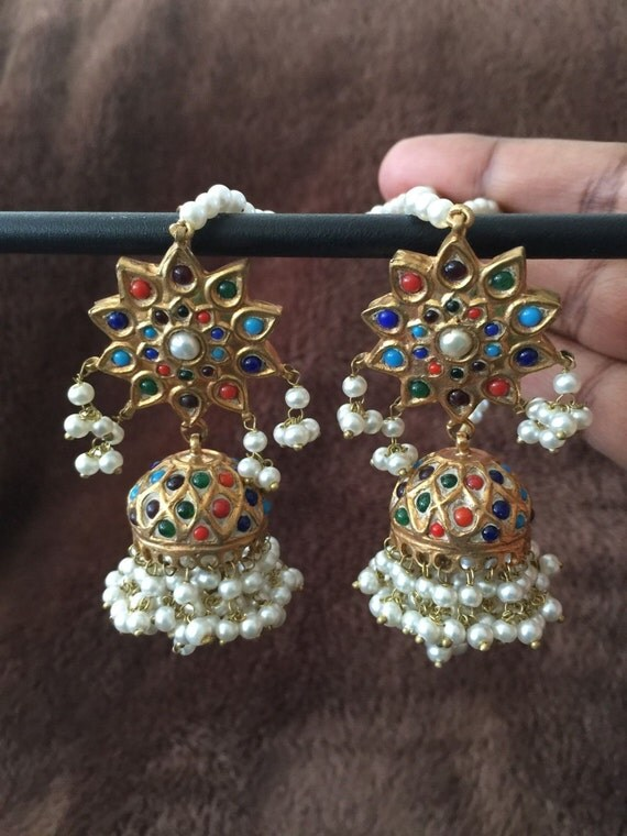 Indian jewellery gold pearl navratan meenakari earrings for East indian jewelry online