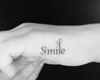 Smile Tattoo, Finger Tattoo, Temporary Tattoo, Fake Tattoo, Birthday Gift, Motivational Tattoo, Festival, Smile, Inspirational, Set of 3