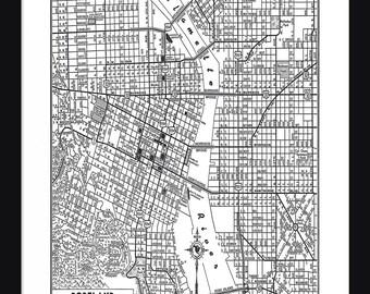 Portland Vintage Map - Portland - White - Print - Poster