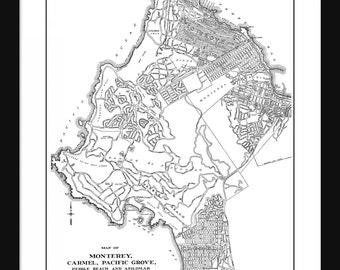 Carmel Vintage Map - Carmel - White - Print - Poster