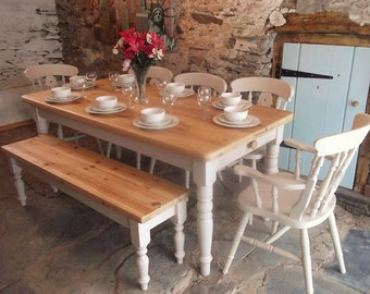 Reclaimed Pine 6ftx 3ft Farmhouse Dining Table with 5 Chairs & Bench
