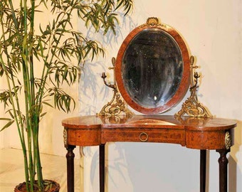 Vanity Dressing Table French Antique Louis XVI, Adjustable Mirror with Bronze #1736