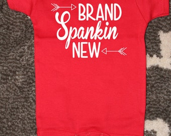 Funny Baby Bodysuit, Brand Spankin' New, Newborn Red Bodysuit, Baby Announcement, Funny Baby Shower Gift, Newborn Announcement