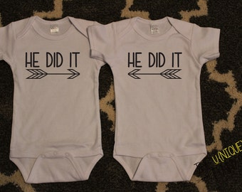 Twin Boys, Funny Baby Gift, He Did It Twin Boy Bodysuits, White Bodysuits, Twin Gift Sets, Baby Shower Gift, Baby Announcement, Arrows