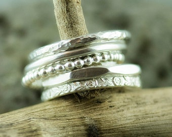 Sterling Silver Stacking 5 Ring Set, Stacking Ring, Silver Ring, Stackable Ring, Textured Ring, Hammered Ring, Patterned Ring, Embossed Ring