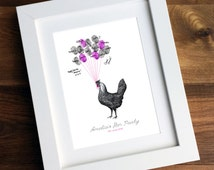 Personalised / Customised Hen Party Print - Printable Vintage Hen Thumbprint Guest Book