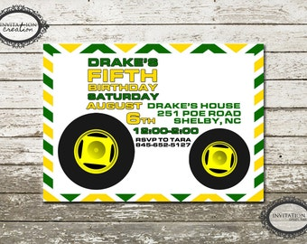 Boys Tractor Birthday Party Invitation Digital Download File