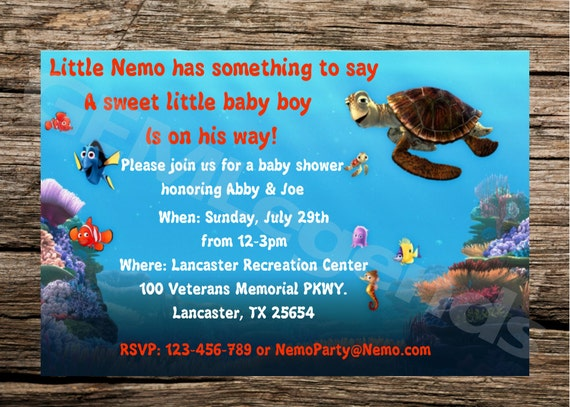 finding nemo baby shower invitation finding nemo baby shower finding