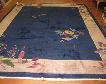 Antique Chinese Art deco rug-39944