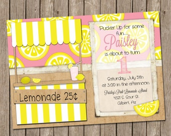 Pink Lemonade Birthday invitation - Printable - 5x7