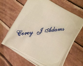 Mens handkerchief with an added name.