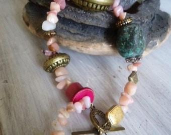 Morganite stone, rhodonite, Bohemian Bracelet bracelet.