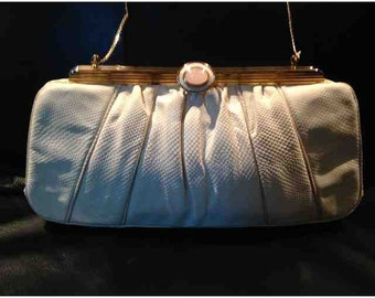 Cream and Gold Vintage Judith Leiber Handbag