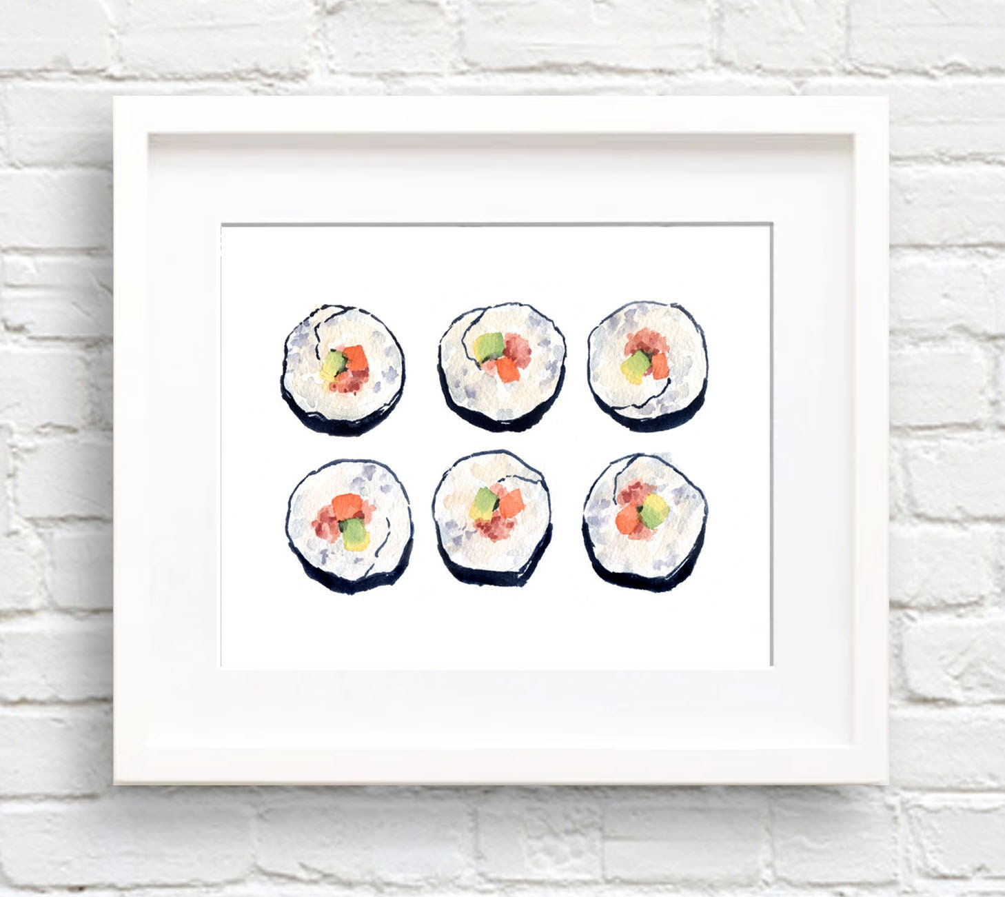 Art Prints For Kitchen Wall: Sushi Art Print Kitchen Wall Decor Watercolor Painting