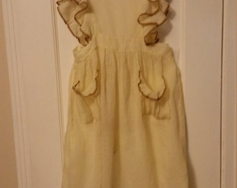 Young Girls Vintage Pinafore Dress. Yellow Dot.