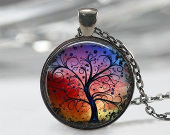 Tree Necklace Whimsical Fantasy Tree of Life Gunmetal Tree Of Life Necklace Pendant Woodland Jewelry Gift for Her Gift For Mom Birthday Gift