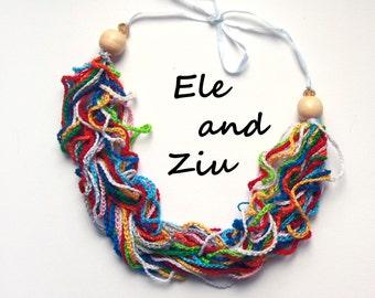 Rainbow Crochet Necklace - Rainbow necklace - Boho Necklace - Crochet Necklace - Gift Ideas - Funny Necklace