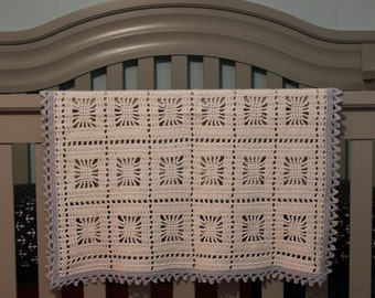 White and Blue Open Weave Lace Crochet Blanket