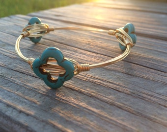 Turquoise clover Bangle