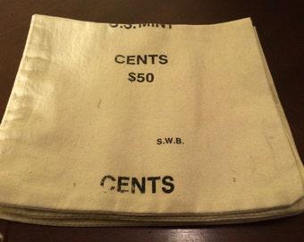 U.S. Mint Bank Bags/Money Bag -50 Dollars Cents