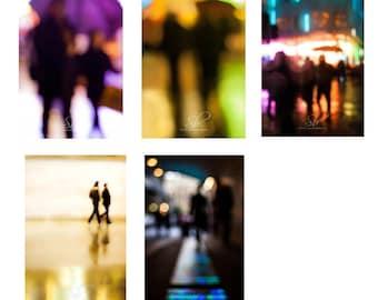 Set of 5 - Urban people print, dreamy, blurry effect, people walking, fine art photography, wall art, A3, A4