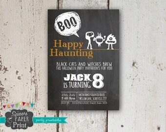 Halloween Chalkboard Invitation, Printable halloween chalkboard Party Invitation, chalk board template invitation customised, customized