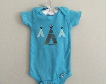 SALE! Blue teepee onesie, hand dyed and painted 3-6 months