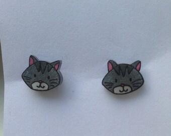 Shrinky dink Cat earrings