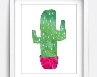 Cactus Print, Printable Wall Art, Instant Download Printable Art, Nursery Art, Kids Wall Art, Home Decor, Wall Art, Art Prints, Cute Green