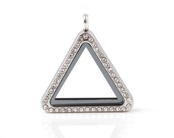 Triangle Floating Locket, Silver Glass Lockets, Memory Locket With Crystals