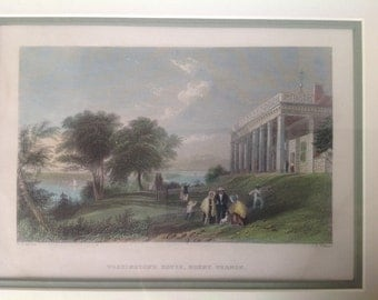 Washington's House, Mount Vernon Hand Colored Engraving 19th Century
