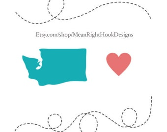 Washington SVG, state svg, silhouette, heart svg, and dotted lines INSTANT DOWNLOAD vector files for cutting machines - svg, png, dxf, eps