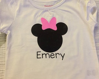 Minnie or Mickey Mouse Personalized Shirt