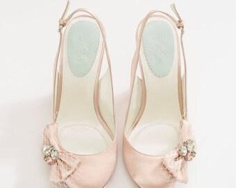 Blush silk shoes