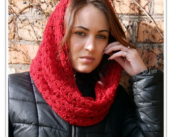 Valentine gift ideas Infinity Scarf Crochet Wool Washable  Warm Long Soft Handmade Adjustable Red