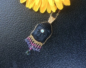 Gold Filled Wire Wrapped Carved Frosted Obsidian Buddha Head with Gemstone Fringe Pendant
