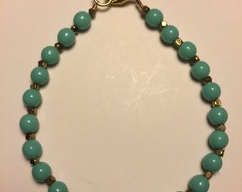 Turquoise & Gold Beaded Bracelet