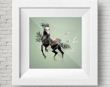 Grey Horse illustration, Digital Print, Wall Art, Printable Poster, Decoration, Design, Old, Exotic, Frame