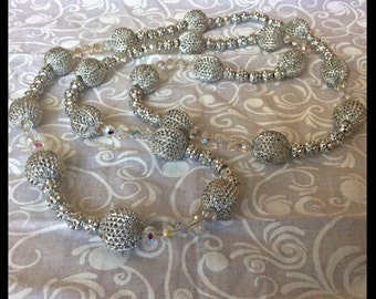 Vintage Aluminum and Austrian Crystal Bead Necklace