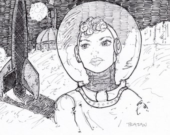 Thrilling Wonder Stories Cover Homage - Print from an original drawing