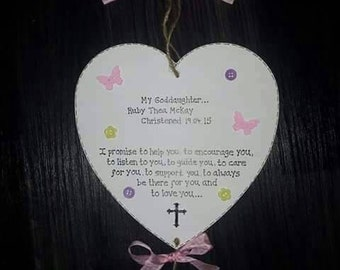 Personalised Goddaughter/Godson Wooden Gift Plaque for Christening
