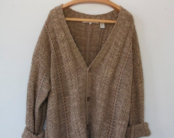 brown knit button down cardigan