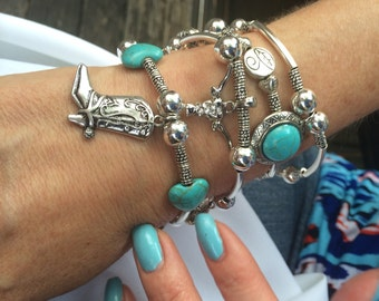 Cowboy Boot Western Bracelet - Cowboy / Cowgirl Bracelet - Western Jewelry - Turquoise Jewelry - Silver Tone Multistrand Faux Turquoise