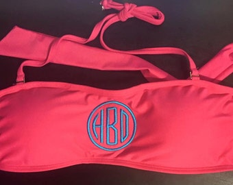 Hot Pink Monogrammed Swimsuit Top