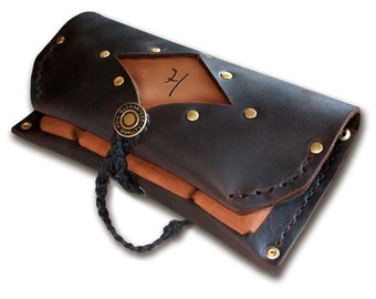 "Handmade Leather Tobacco Pouch  -  ""Out 'n' About""  -  your initials pyroed on!"
