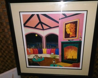 """Francois Fanch Ledan """"Interior With Cocteau"""" Signed and Numbered Seriolithograph"""
