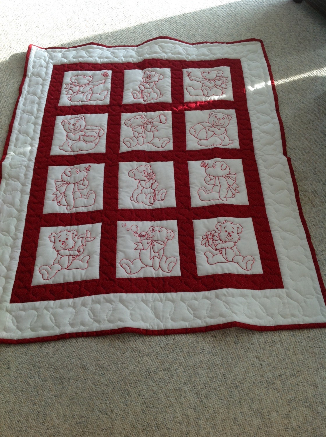 Baby Gift Quilt : Baby quilt shower gift red work teddy bears hand